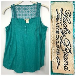 Lucky Brand Teal Tank Top Lace Embroidered XS